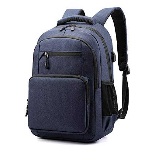 BGDY Zaino in Poliestere, Zaino Ricaricabile USB, Borsa da Viaggio Impermeabile, Borsa Casual per Computer, Unisex, 42 * 29 * 13 cm Blu Scuro