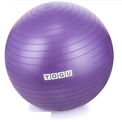 Yogu Stabilitäts-Gymnastikball, 65 cm, Yoga-Ball, Geburtsball mit Luftpumpe, rutschfest und platzsicher, unterstützt 907 kg, ideal für Yoga, Pilates, Bauchtraining, Fitnessball und Bürostuhl