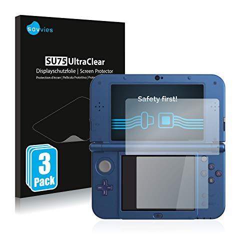 Savvies 6X Schutzfolie kompatibel mit Nintendo New 3DS XL Displayschutz-Folie Ultra-transparent