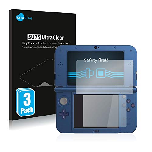 Savvies 6X Schutzfolie kompatibel mit Nintendo New 3DS XL Displayschutz-Folie Ultra-transparent