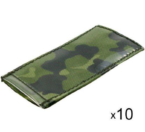 BE-X ID Hüllen -Modular ID Tags- auf Klett, 5x10cm, z.B. für Einleger, 10 Stück - dänisch tarn