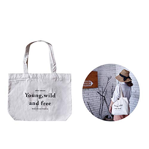 Wenlai 1 Pieza Bolsa de La Compra de Lona Bolsa Al Hombro, Bolsas de La Compra con Asas Reutilizable, Algono Bolsas de Supermercado, para Actividades Diarias como Compras de Fitness(Blanco)