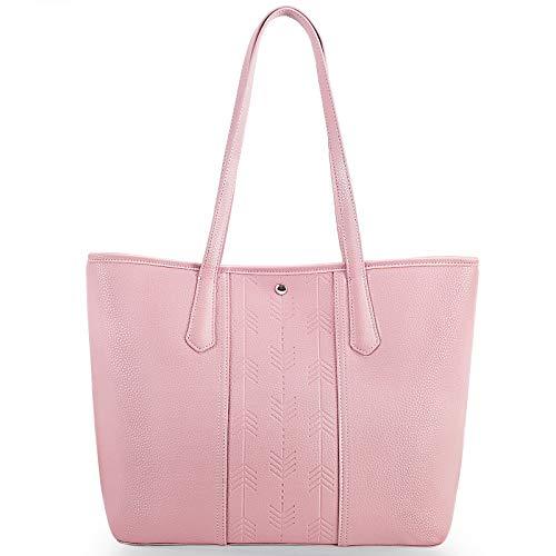 Lekesky Women Purses and Handbags, Leather Purse Tote Bag for Women, Pink