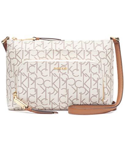 Calvin Klein Hudson Top Zip Signature Crossbody, Vanilla/Khaki