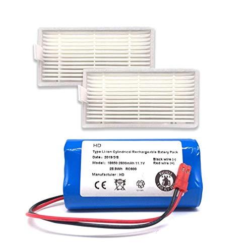 ZRNG Fit Recargable for la batería de ILIFE + Filtro de Pincel 11.1V 2600mAh Accesorios de aspiradora robótica Ajuste for Chuwi ILIFE V3 V5 V5S V5SPRO La instalación es Simple y fácil de Usar.