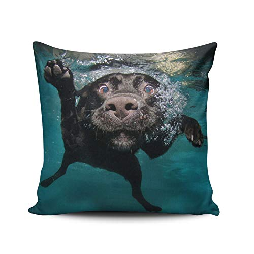 Funda de Cojine Throw CojínFunda de almohada Animal Perro Perro Agua Submarino Negro Labrador Funda de almohada Funda de cojín 45CM X 45CM
