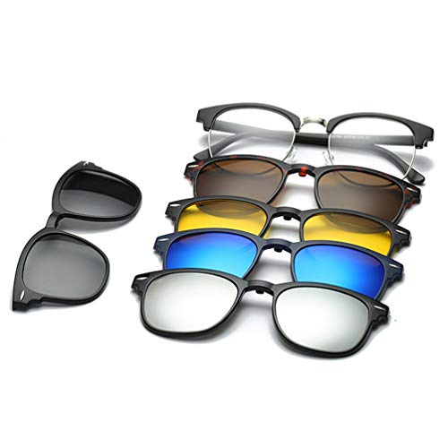 Embryform 5-Pack Occhiali da Sole Polarizzati Clip-on+1 Frame, MagClip Montatura Occhiali da Vista con Clip da Sole Magnetiche Lenti Polarizzati