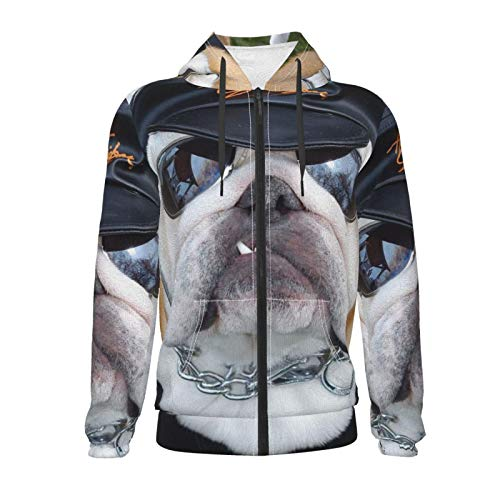 Vizor Boys Kid Zipper Hoodies French Bulldogs Police Officer Novelty Hooded Sweatshirts Long Sleeve Pullover Zip-Up Jacket