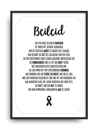 Geschenk Karte BEILEID Kunstdruck Beerdigung Abschied Trauer Bild ohne Rahmen DIN A4