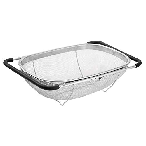 Rxan Over The Sink Stainless Steel Colander with Fine Mesh Strainer Basket Expandable Drain Kitchen