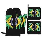 Juego de 4 Guantes de Horno y agarraderas,Bandera de Jiu Jitsu Brasil,Utilizado para cocinar,Hornear y Asar a la Parrilla