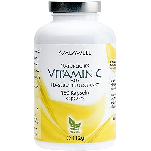 AMLAWELL Natürliches Vitamin C – 180 Kapseln Vitamin C aus Hagebuttenextrakt (100 mg Vitamin C pro Kapsel) ohne Zusatz von Ascorbinsäure, vegan