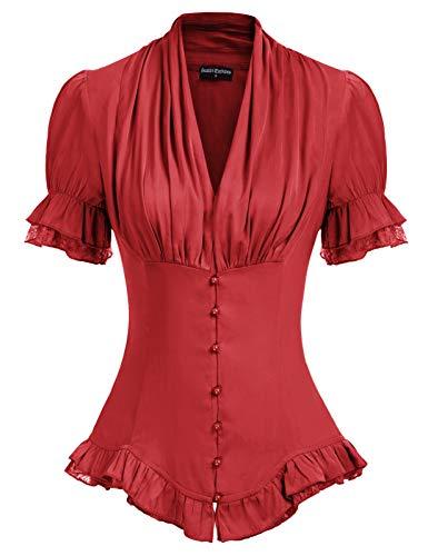 SCARLET DARKNESS Blusa retro para mujer, manga corta, cuello en V, ajuste delgado, con encaje, estilo victoriano, estilo gótico
