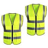 Chalecos reflectantes 2 piezas Chaleco de seguridad reflectante de alta visibilidad con tiras reflectantes y bolsillos transparentes para identificación, XXL