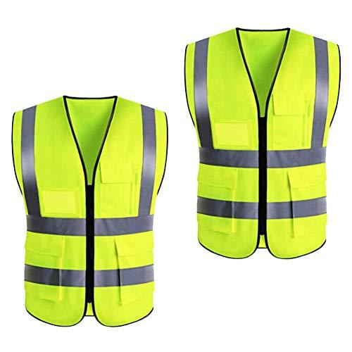 Reflektierende Westen 2-teilige Warnweste mit hoher Sichtbarkeit, reflektierende Streifen und transparente ID-Taschen, XXL