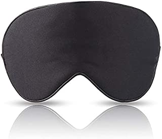 Pure 100% Silk Eye Mask - Super Smooth Luxury Silk, Black Sleeping Mask for Uninterrupted Sleep - Travel, Hotels and Insomnia