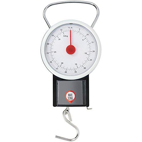 com-four® Kofferwaage für Reisegepäck, Gepäckwaage bis 32 kg, Hand-Waage mit analoger Anzeige (V1)