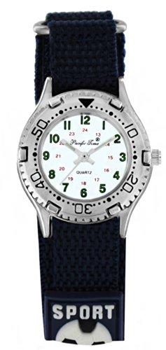 Pacific Time Kinder-Armbanduhr Klettarmband Fußball Uhr Jungen Mädchen Analog Quarz Schwarz 20986