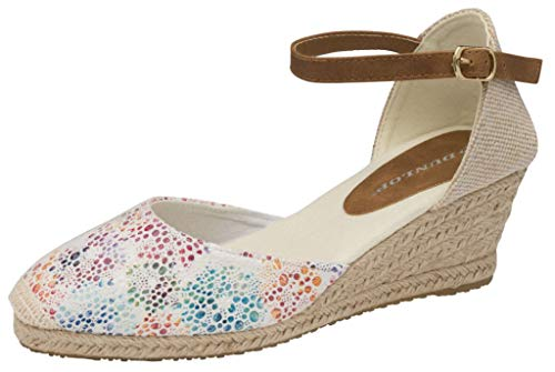 Womens zomer Wedge Espadrille dames midden hak sluit teen casual sandalen schoenen