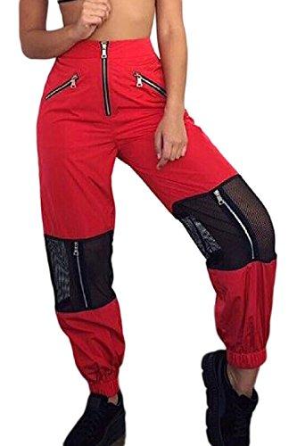 Mujer Pantalones de Cargo Casual Baggy Jogger Hip Hop Pantalón Deportivo Cintura Elástica Deporte