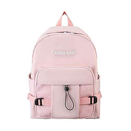xiaozai Canvas Junior High School Girl Student Rucksack Diebstahlsicherung Tasche Große Kapazität für Mädchen Rosa