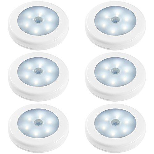 Senhai Luces de Noche de Sensor de Movimiento, 6 Pack Movimiento Activado Batería LED Luz de Noche en Oscuridad para Dormitorio Cuarto de Baño Cocina de WC Pasillo Armario Escaleras