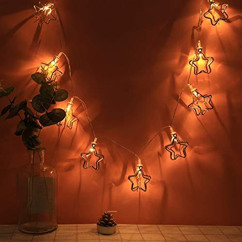 LED Stern Lichterketten Innen Stimmungslichter, Dapei 10er LED Pentagramm aus Metall Lichterkette Warmweiß String Licht für Partys, Weihnachten, Deko, Hochzeit, als Stimmungslicht