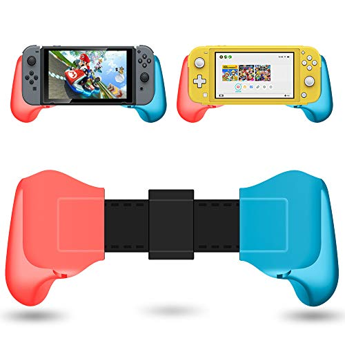 Grip Case for N-Switch Lite 2019, Comfortable & Ergonomic NS Mini Non-Slip Handle Stretchable with Stand Brace Compatible N-Switch /Switch Lite Handgrip Accessories (Red blue)