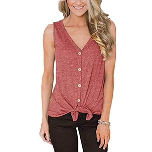 T-Shirt Damen Ärmellos Bluse V-Ausschnitt Sexy Bequeme Top Sommer Bluse Einfarbiges Design Atmungsaktiv Verschiedene Anlässe Damen Tank Top G-Red XXL