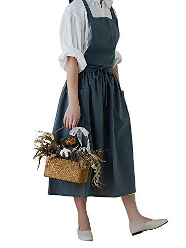 Delantal de algodón para el hogar de la cocina, estilo nórdico, suministros de café, delantal plisado impermeable con bolsillo, azul, Talla única