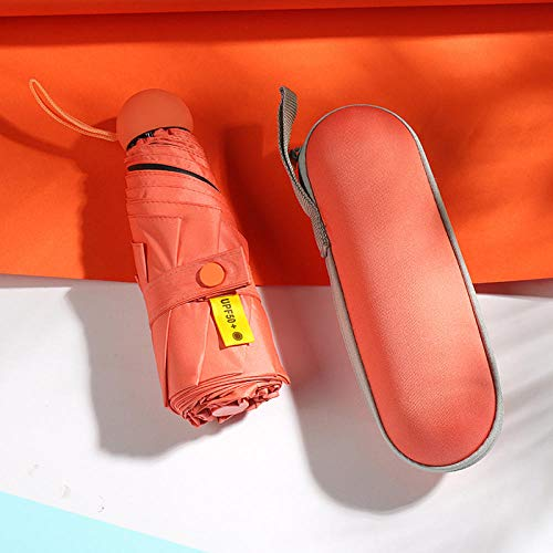 Creative Candy Color Ocho huesos Cinco pliegues Paraguas Mujer Mini bolsillo Protector solar Sombrilla Paraguas Lluvia y lluvia Estuche para gafas de doble uso Paraguas cápsula-Naranja/Cinco pliegu