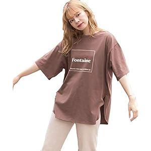 [アドティエ] 裾ラウンドプリントTシャツ ラウンド オーバーサイズ 半袖 Tシャツ トップス チュニック ロゴ レディース カットソー 裾ラウンド コットン 10204007ブラウンF