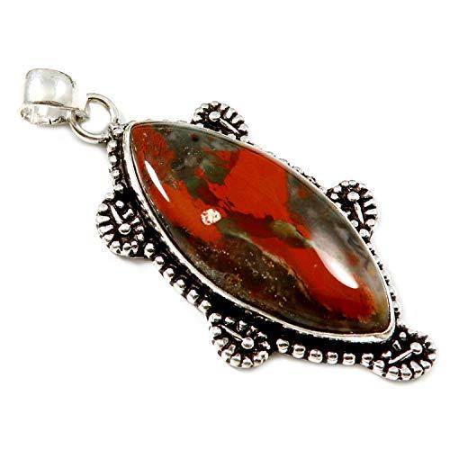 Goyal Crafts GPBA93 - Colgante chapado en plata con piedra natural de jaspe arcoíris rojo