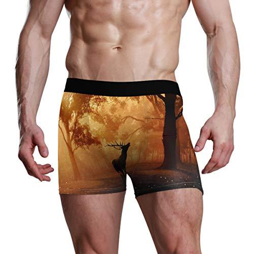 Vipsa Herren Boxershorts aus Polyester, nahtlos, Stretch, Orange, Wald, Sonnenuntergang, Weihnachten, Elch Gr. X-Large, Multi