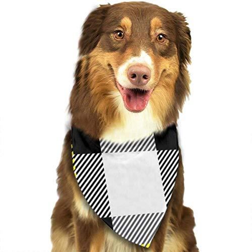 hgdfhfgd Bufanda de Perro Vector Patrón de Cuadros de tartán Blanco y Negro Pañuelos para Mascotas Baberos de triángulo Bufanda de Cabeza Ajustable