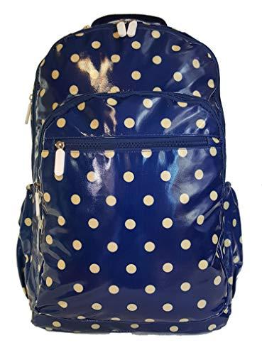 GFM® Mochila impermeable con acabado brillante para uso diario, escuela, colegio, gimnasio, viajes, etc. (1118) Azul .Style 3-1118-polka-ghnl-polka-polka-polka-polka- azul L