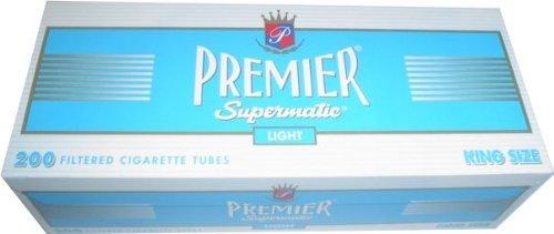 (5) Five Boxes of Premier Supermatic Light - King Size Cigarette Tubes