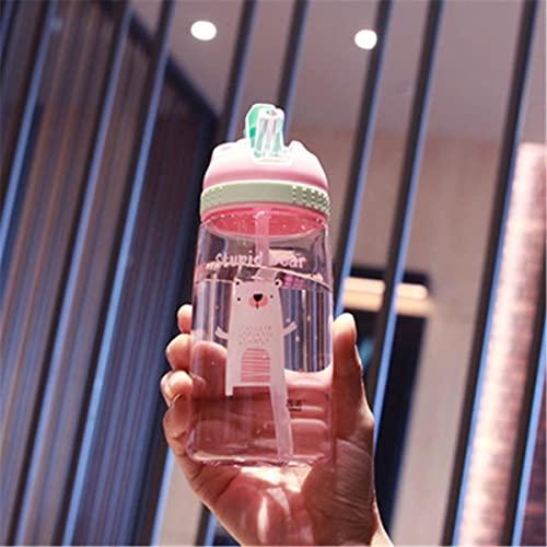 Botella de agua con pajita de plástico de alta calidad para niños, botellas de agua para niños, sin BPA, 450 ml, rosa