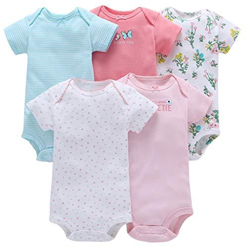 Body z krótkim rękawem dla dziewczynki, zestaw 5 sztuk, bawełniane śpioszki, pidżama na lato, body dla niemowląt, strój do zabawy, motyl 9-12 miesięcy