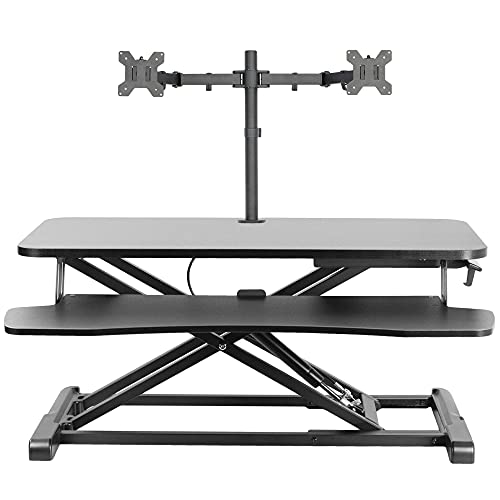 VIVO Black Height Adjustable 32 inch Standing Desk Converter and Dual Monitor Stand Combo, Sit Stand Dual Monitor Mount and Desk Riser, Fits 13 to 27 inch Screens (Bundle)
