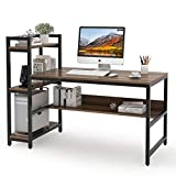 Tribesigns Computer Desk with 4-Tier Storage Shelves, 60 inch Modern Large Office Desk Computer Table Studying Writing Desk Workstation with Bookshelf and Tower Shelf for Home Office (Dark Walnut)