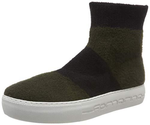 Fornarina, Sneaker a Collo Alto Donna, Multicolore (Yuma4 Kaki/Black), 38 EU