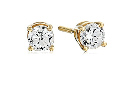 Certified 14k Yellow Gold Diamond with Screw Back and Post Stud Earrings (1/2cttw, J-K Color, I1-I2 Clarity)