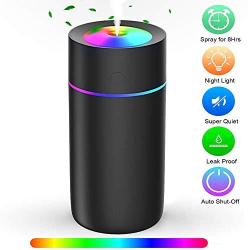 USB Luftbefeuchter, Swonuk 320ml Mini Air Humidifier mit 7 Farben Atemlichter, Automatische Abschaltung, Einstellbare Nebelmodi, geeignet für Schlafzimmer, Büro, Auto
