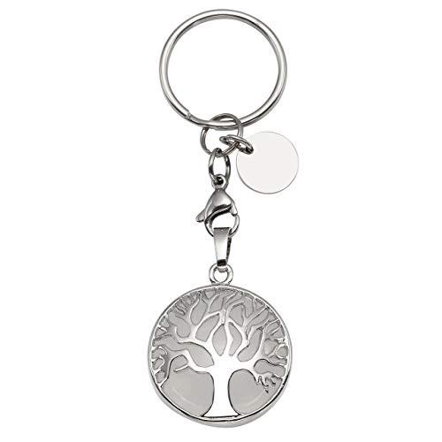 CrystalTears Schlüsselanhänger Natürlich Edelstein Lebensbaum Anhänger Chakra Heilsteine Reiki Schlüsselbund Keychain Dekoration Bergkristall