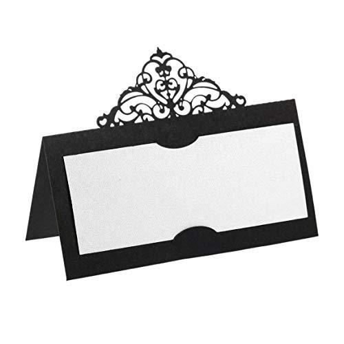 Nrpfell Tarjetas de Mesa de 100 Piezas con Inserciones Blancas Tarjetas de Carpa de Corona Tarjetas de Nombre para Banquetes de Boda Buffet Nupcial Negro