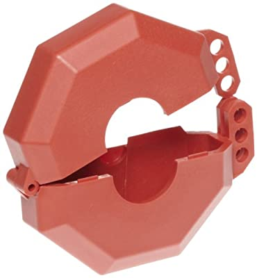"""Accuform Signs KDD473 STOPOUT Gate Valve Lockout, Fits Valve Handle Diameter 6-1/2"""" to 10"""", Hinged Plastic Clamshell Housing, Red from Accuform Signs"""