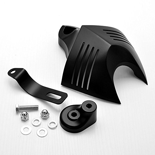 Black Twin Horn Cover V-Shield Cowbell Set For 1992-2014 Harley Dyna Softail Road King Street Electra Glide V-Rod