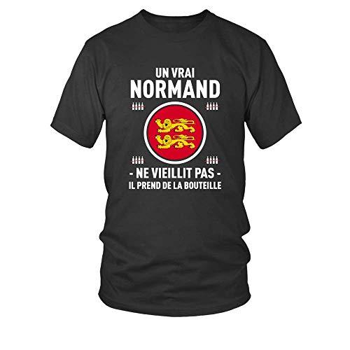 TEEZILY T-Shirt Homme Un Vrai Normand ne viellit Pas il Prend de la Bouteille - Noir - XL