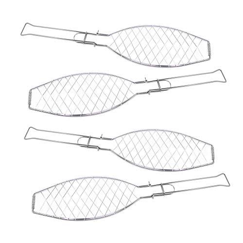 ToCi 4X Fischgriller (Silber) mit Klappgriff | Große Fischbräter aus Metall (57 x 13 cm)